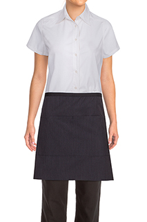 Wide Half Bistro Apron with Contrasting Ties - side view