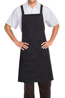 Cross-Back Bib Apron: Pinstripe - side view