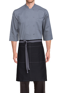 Wide Half Bistro Apron with Contrast Ties - side view