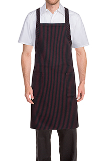 Cross-Back Bib Apron: Red Pinstripe - side view
