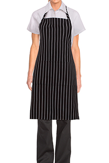 Chalk Stripe Bib Apron - side view