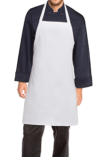 Bib Apron: White - side view