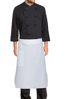 Tapered Chef Apron: White - side view