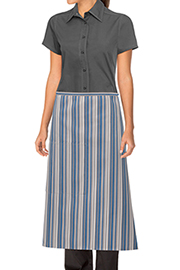 Striped Bistro Aprons: Blue/gray/white
