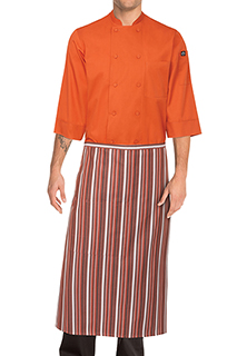Striped Bistro Aprons: Orange/white/brown - side view