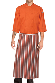 Striped Bistro Aprons: Orange/white/brown