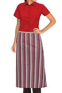 Striped Bistro Apron: Red/gray/black - side view