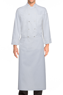 Long Four-Way Apron: White - side view