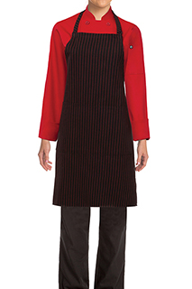 Pinstripe Bib Apron: Red - side view