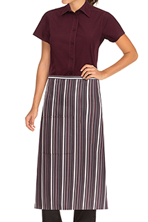 Striped Bistro Aprons: Merlot/gray/white - side view
