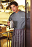 Striped Bistro Aprons: Merlot/gray/white - back view