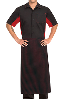 Striped Bistro Aprons: Red Pinstripe - side view