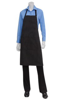 Pinstripe Bib Aprons: White - side view