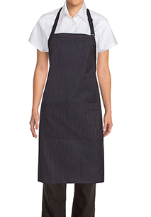 Butcher Apron with Contrasting Ties - side view